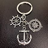 WANM 1Pes Creative Pendant Fish Hook Fishing Keychain Alloy Compass And Anchor Lighthouse Lighthouse...