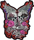 [Large Size] Papapatch Lethal Angel Skull Pink Roses Wings Star Biker Punk Ride Chopper Motorcycle...