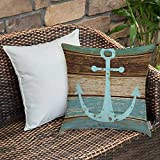 Bedding Soft Decorative Square Pillowcases Anchor by,Boat Anchor Nautical Rustic Wooden Planks with...