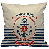 HGOD DESIGNS Cushion Cover Anchor Vintage Retro Nautical Anchor with Aztec Stripe Throw Pillow Cover...