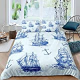 Erbaeo 4 Pieces Kids Duvet Cover With 1 Fitted Sheet And 2 Pillows, Vintage Style Blue Nautical...
