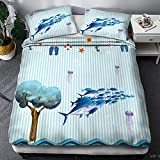 Sea Bedding Compass Bedding Set Nautical Map Duvet Cover Navy Blue and White Bedclothes Adults Boys...