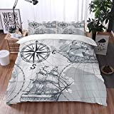 Mingdao bedding - Duvet Cover Set, Nautical Sailboat Map Grey Boat Sketch Ship Wheel Compass Anchor,...