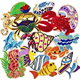 MUSCCCM Iron On Patches,16 Pcs Embroidered Marine Life Applique Patches Kit Assorted Size Decoration...