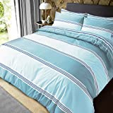 Sleepdown Teal Banded Stripe Reversible Soft Easy Care Duvet Cover Quilt Bedding Set with...