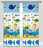 Kidibed Sea Animals Boats Nautical Pencil Pleat Curtains for Children Room Boys Girls (61'x61')