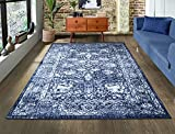 A2Z Rug|Santorini 6076 Navy Blue Overdyed Floral Pattern With Border|Family Room Modern Transitional...