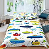 Kids Cartoon Comforter Cover Set Boys Girls Whale Ship Submarine Bedding Set Ocean Nautical Duvet...
