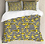 YnimioHOB Nautical Party Duvet Cover Set, Underwater Item on a Background of Horizontal Stripes,...