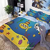 Bedding Sheets Set 3 Piece Duvet Cover Set Bed Set,Nautical Kids Colorful Fish Underwater Jellyfish...