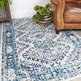 Traditional Navy Blue Aztec Rug Vintage Inspired Distressed Bohemian Living Room Area Bedroom Rugs...