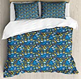 ABAKUHAUS Nautical Duvet Cover Set Twin Size, Composition of Octopus Fish and Corals Marine Wildlife...