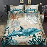 Zooseso® ( Super King size 260 x 230 cm Dolphin animal vintage nautical map 3d comforter bedding...