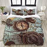 Dodunstyle Duvet Cover,Vintage Compass Nautical Marine Elements Decor Different Box and Needle...