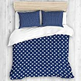 MEJX bedding-Duvet Cover Set,American Patriotic Seamless Pattern White Stars,Microfibre 260x220 with...
