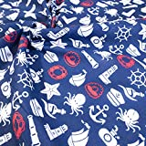 Navy Blue Marine Sea Life Childrens Polycotton Fabric (Per Metre) by Rolled Up Fabrics