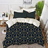 Qoqon bedding - Duvet Cover Set,Anchor,Abstract Cruise Ship Pattern with Windrose Nautical Rope and...