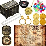 Pirate Treasure Chest Toy Kit Vintage Pirate Treasure Chest Pirate Eye Patch Gold Earrings Gold Coin...