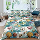 Loussiesd Ocean Bedding Set Conch Shell Starfish Marine Life Duvet Cover for Kids Boys Sea Surfing...