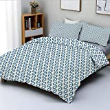 Duvet Cover Set,Nautical Inspired Abstract Geometrical Shapes Rhombus Lines Squares Pattern...