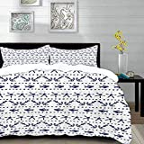 bedding - Duvet Cover Set,Navy Blue,Navy Yatch Themed Design with Fish Starfish and Anchor Nautical...