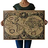 Souarts Cream Color Kraft Paper Rectangle Vintage World Map Decorative Poster Print Picture