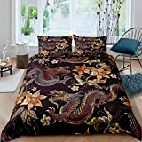 Tbrand Dragon Duvet Cover King Chinese Style Bedding Sets Animal Pattern Plant Floral Decor...