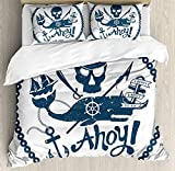 LnimioAOX Anchor 3 PCS Duvet Cover Set, Vintage Style Nautical Pirate Skull and Whale Design with...