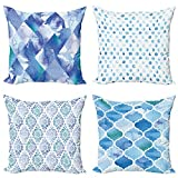 ABAKUHAUS Geometric Throw Pillow Cushion Case Pack of 4, Weathered Retro Design with Diamond Shape...