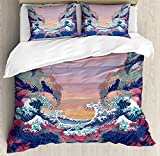 Modern Decor Duvet Cover Set, Colorful Fantasy Sea Waves Ocean Modern Fictional Nautical Magic Artsy...