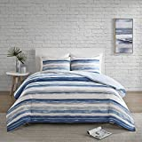 SCM Marina Duvet Cover and Pillowcase Set, Modern Take on the Coastal Stripe, Watercolor Motif,...