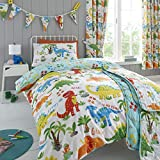 Happy Linen Company Girls Boys Kids Cute Dinky Dinosaurs Toddler Cot Bed Reversible Duvet Cover...