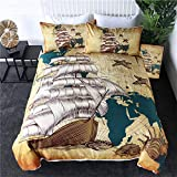 Sailing Ship Bedding Set Nautical Map Quilt Cover World Map Retro Bedclothes Oceans Shells Brown...