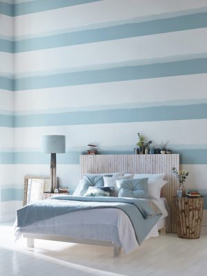 blue navy and white stripes wallpaper on bedroom wall