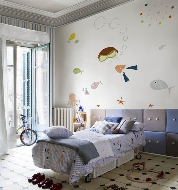 diving in the sea cartoon wallpaper on baby bedroom wall