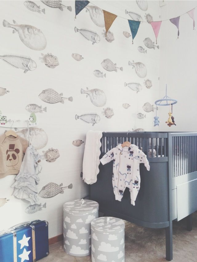 fishes wallpaper on baby bedroom wall
