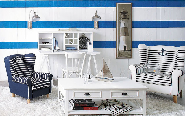 nautical stripes blue and white wallpaper on living room wall
