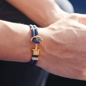 Paul Hewitt pherps anchor bracelet Gold Nylon Marineblau