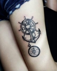 anchor rudder and compass tattoo on leg