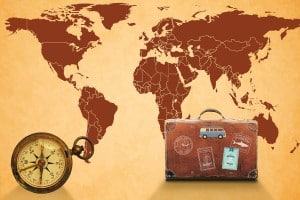Map of the world, Luggage & Compass