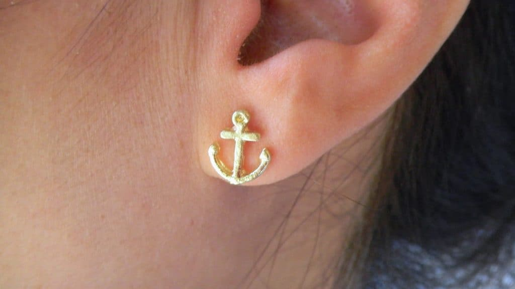 Gold Anchor Earrings
