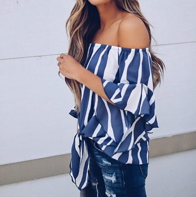Nautical blouse shoulders side off