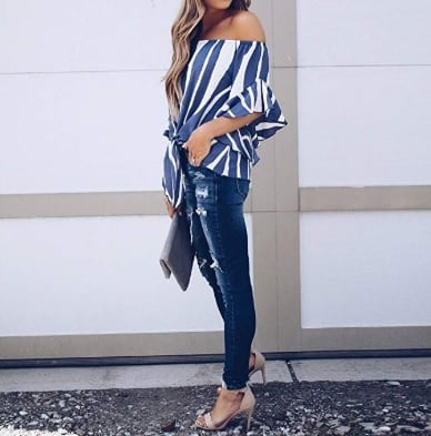Nautical blouse side full shoulders off
