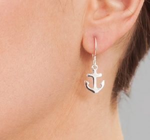 Silver Anchor Earrings