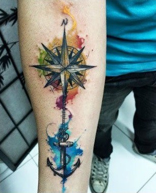 forearm anchor and compass tattoo