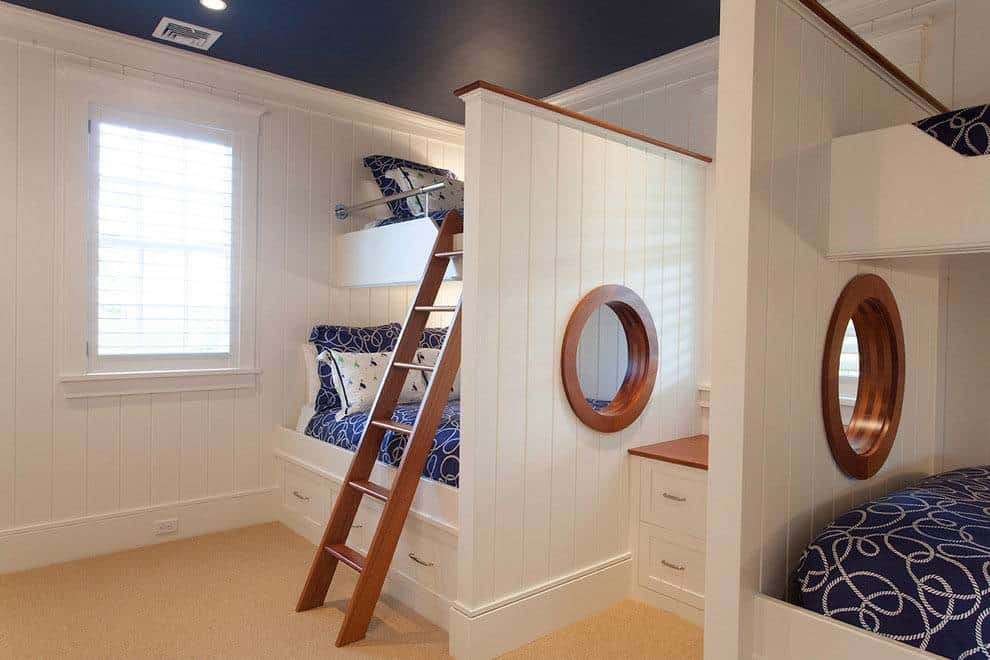 white cladding walls and bunk beds for a cabin appearance