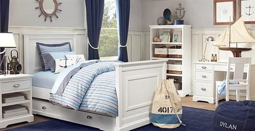 wood in the walls of a nautical bedroom