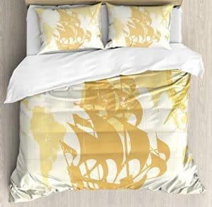 Antique Gold Nautical Map Bedding Single
