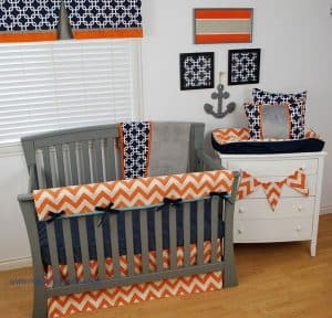 Baby Bedding Orange And Navy Nautical