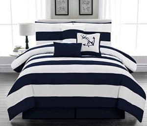 Blue And White Striped Nautical Bedding